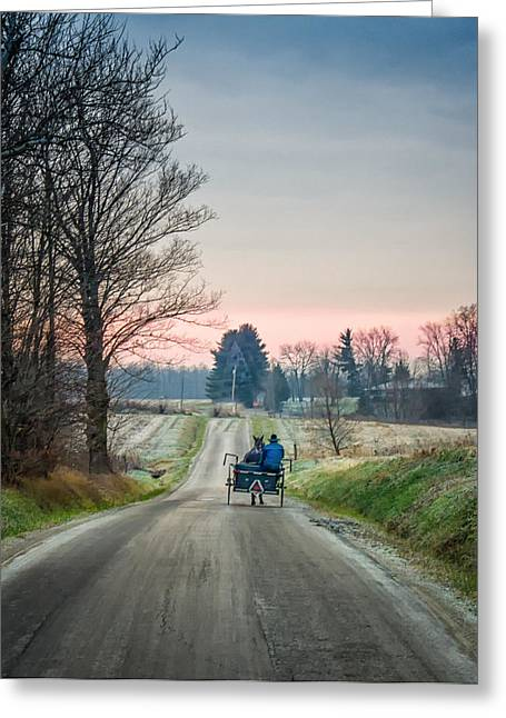 Amish Photographs Greeting Cards - Frosty Morning Greeting Card by Paul Keske