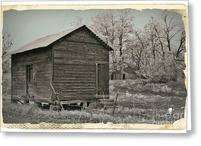 Shed Mixed Media Greeting Cards - Frosty Morning Sepia 1 Greeting Card by Chalet Roome-Rigdon