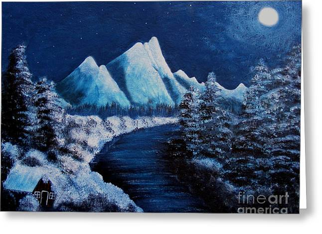 Frosty Night In The Mountains Greeting Card by Barbara Griffin
