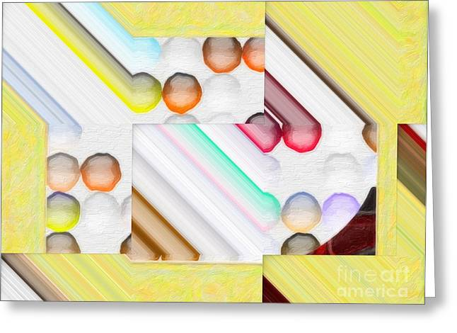 Technical Digital Art Greeting Cards - Frosty Painted Marble Weave Greeting Card by Liane Wright