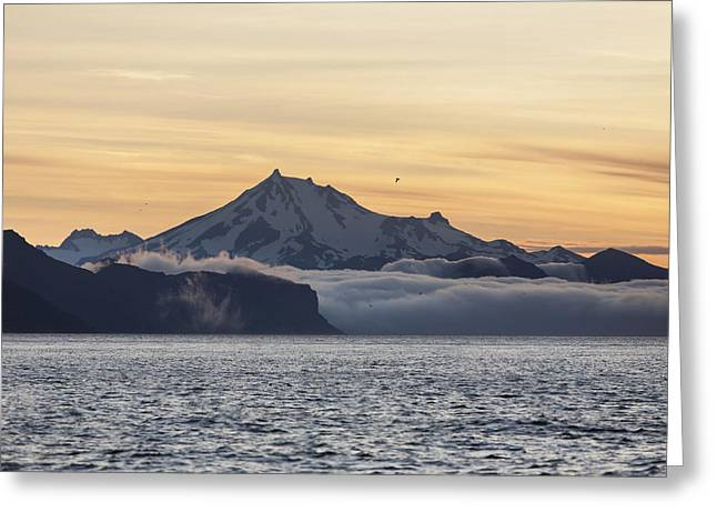 Foggy Ocean Greeting Cards - Frosty Peak On The Alaska Peninsula Greeting Card by Scott Dickerson