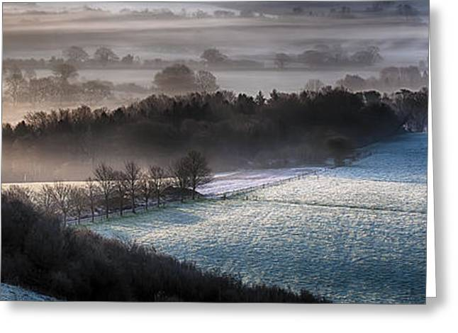 Peaceful Scenery Greeting Cards - Frosty spring morning panoramic Greeting Card by Simon Bratt Photography LRPS