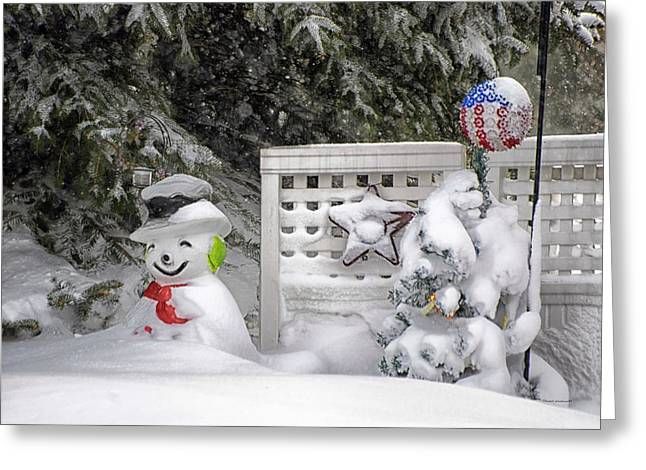 Frosty The Snow Man Greeting Card by Thomas Woolworth