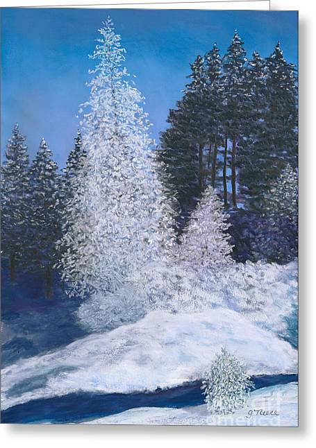 Icy Pastels Greeting Cards - Frosty Trees Greeting Card by Ginny Neece