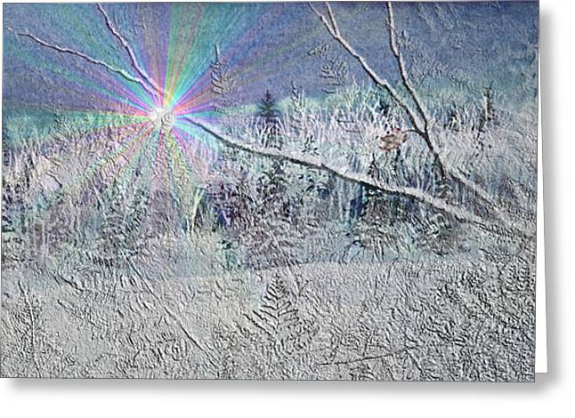 Snowy Woods Greeting Cards - Frosty Window Distant Sun Greeting Card by Hanne Lore Koehler
