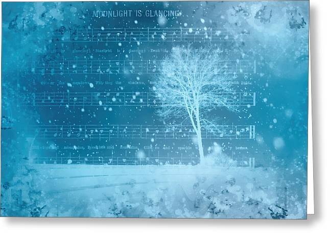 Snowy Night Mixed Media Greeting Cards - Frosty Winter Night Greeting Card by Linda Muir