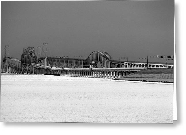 Chesapeake Bay Bridge Greeting Cards - Frozen Bay Bridge Greeting Card by Skip Willits