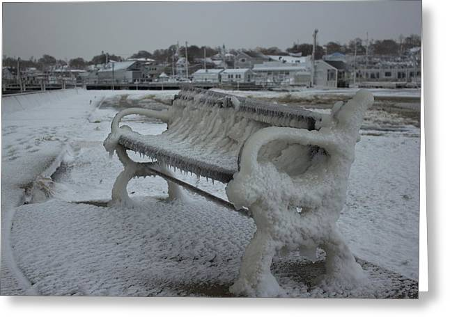 Plymouth Harbor Greeting Cards - Frozen Bench Greeting Card by Amazing Jules