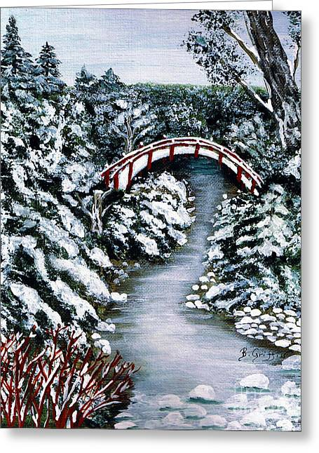 Frozen Brook - Winter - Bridge Greeting Card by Barbara Griffin