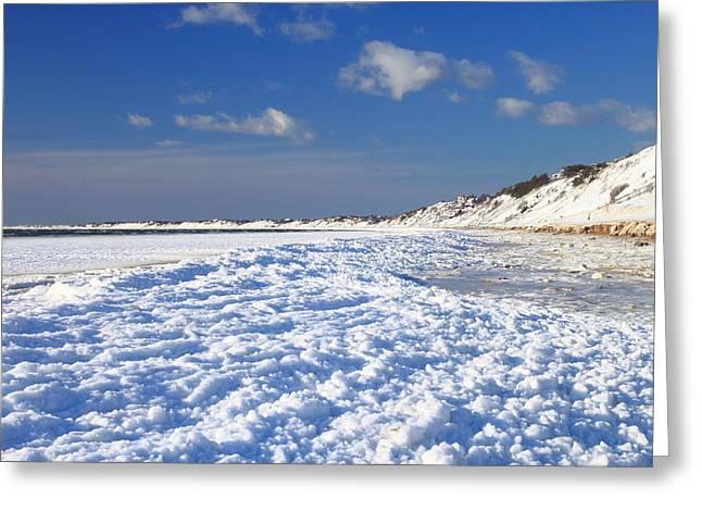 Massachusetts Coast Greeting Cards - Frozen Cape Cod Bay Beach in Winter Greeting Card by John Burk