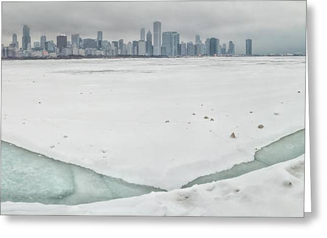 Winter Storm Greeting Cards - Frozen Chicago Greeting Card by Adam Romanowicz