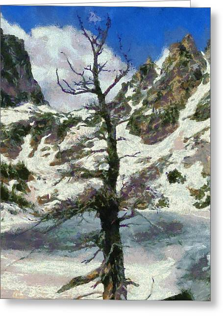 Winter Trees Mixed Media Greeting Cards - Frozen Greeting Card by Dan Sproul