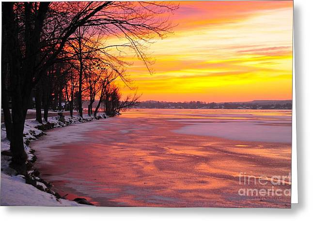 Vacationland Greeting Cards - Frozen Dawn at Lake Cadillac  Greeting Card by Terri Gostola