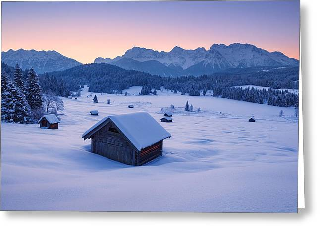 Mountain Cabin Greeting Cards - Frozen Dawn Greeting Card by Michael Breitung