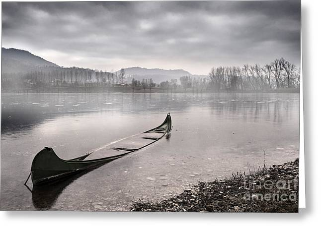 Boat Photographs Greeting Cards - Frozen day Greeting Card by Yuri Santin