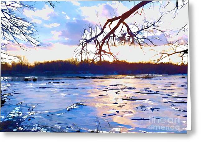 Uplifting Greeting Cards - Frozen Delaware River Sunset Greeting Card by Robyn King