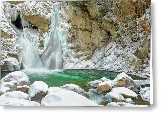 Ethereal Waterfalls Greeting Cards - Frozen Emerald Greeting Card by Bill  Wakeley