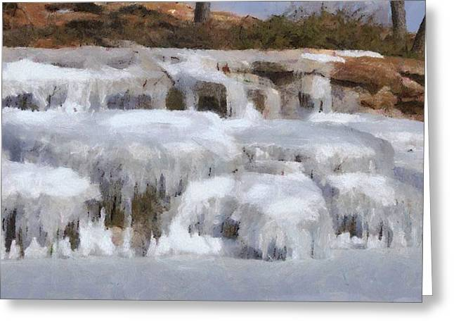 Water Falls Greeting Cards - Frozen Falls Greeting Card by Jeff Kolker