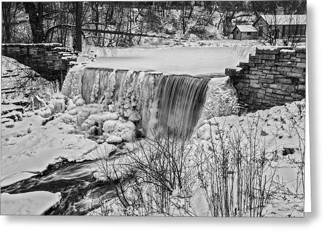 40mm Greeting Cards - Frozen Flow Greeting Card by CJ Schmit