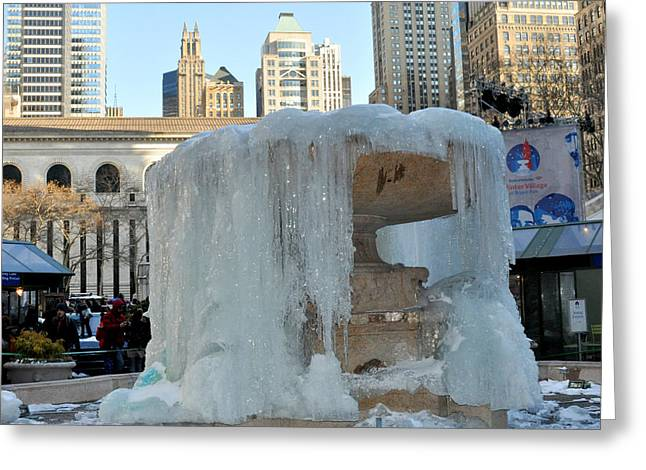 Bryant Greeting Cards - Frozen Fountain in Bryant Park New York Greeting Card by Diane Lent