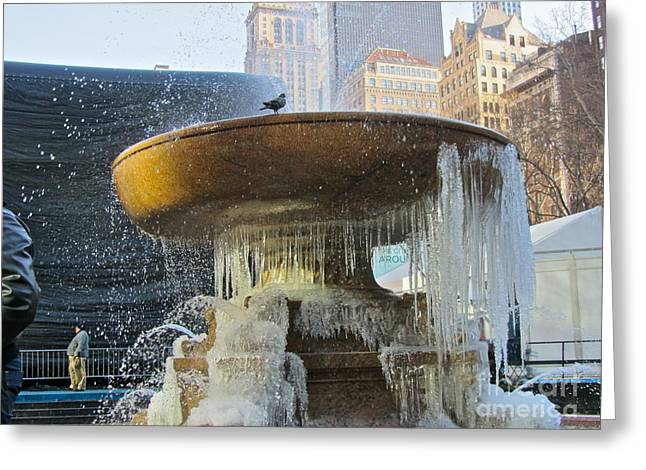 Bryant Greeting Cards - Frozen Fountain Greeting Card by Maritza Melendez