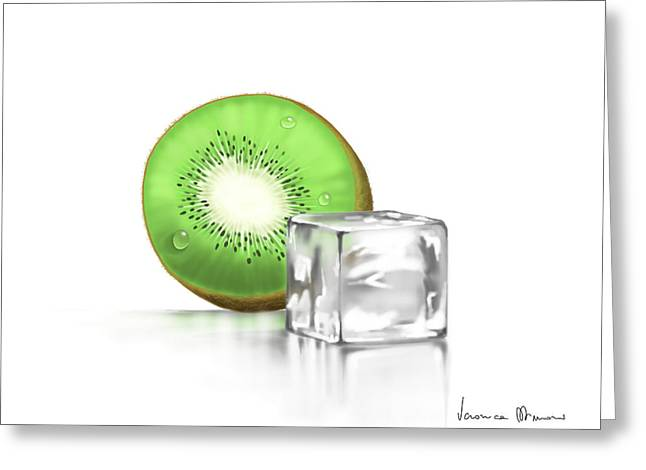 Green Digital Art Greeting Cards - Frozen fruit Greeting Card by Veronica Minozzi