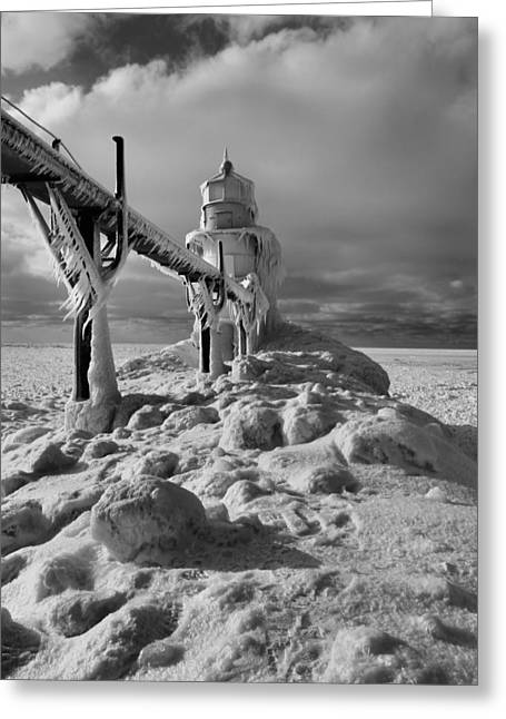 Saint Joseph Greeting Cards - Frozen Grand Haven Lighthouse Black And White Greeting Card by Dan Sproul
