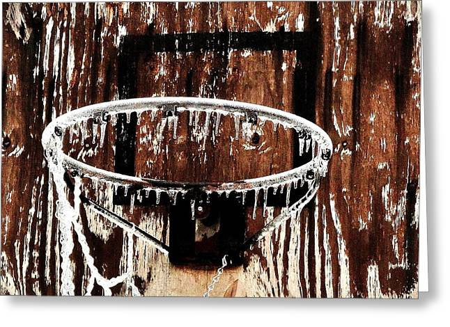 Backboards Greeting Cards - Frozen Hoop Greeting Card by Benjamin Yeager