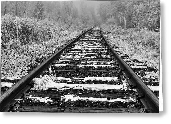 Mystical Landscape Greeting Cards - Frozen Illusion - Train Tracks Vanish  into Frozen Fog Greeting Card by Mark Kiver