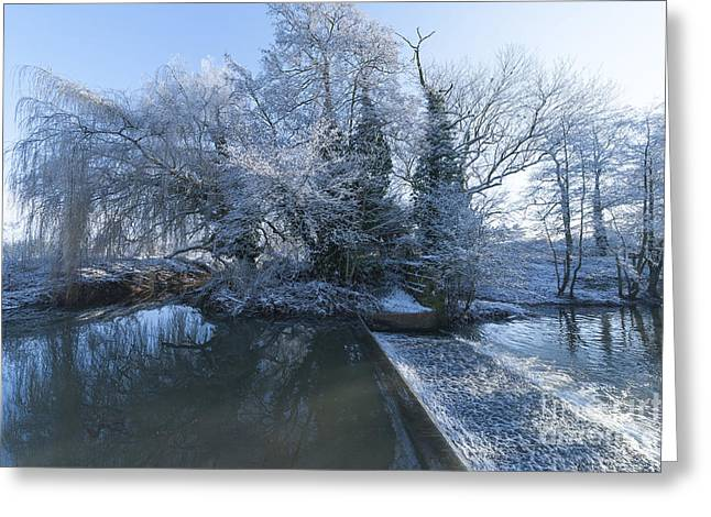 Snowy Stream Greeting Cards - Frozen Iseland Greeting Card by Svetlana Sewell