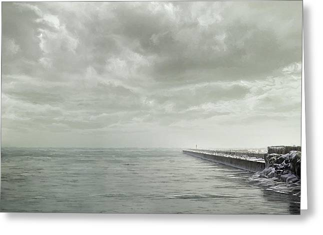 Chicago Digital Greeting Cards - Frozen Jetty Greeting Card by Scott Norris