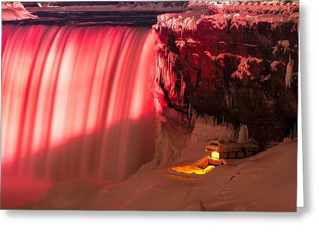 Behind The Falls Greeting Cards - Frozen Journey-N-1 Greeting Card by Allan Hillman