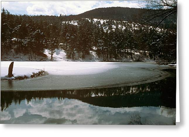 Dazur Greeting Cards - Frozen Lake In Winter In French Riviera Greeting Card by Panoramic Images