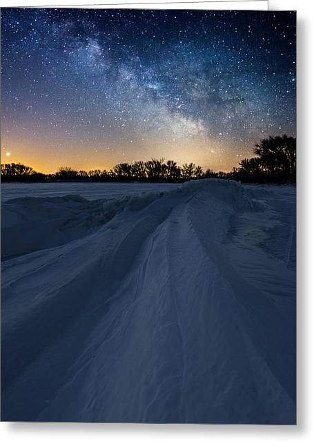 Venus Greeting Cards - Frozen Lake Minnewaska Milky Way Greeting Card by Aaron J Groen