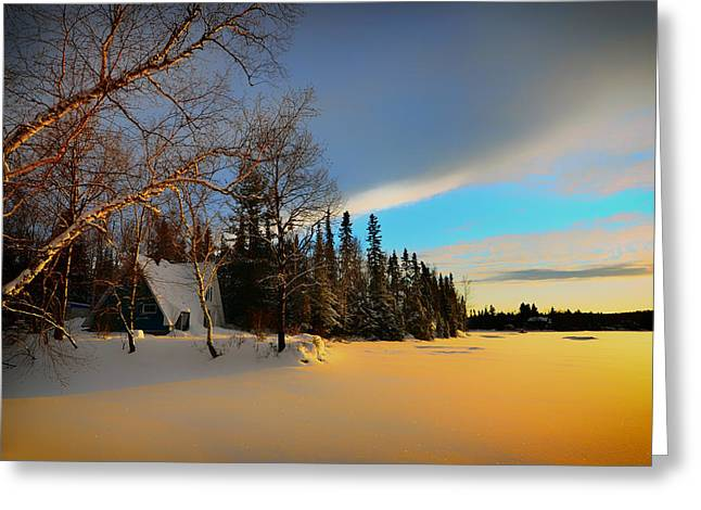 Snowy Evening Greeting Cards - Frozen Lake Sunset Greeting Card by Mountain Dreams