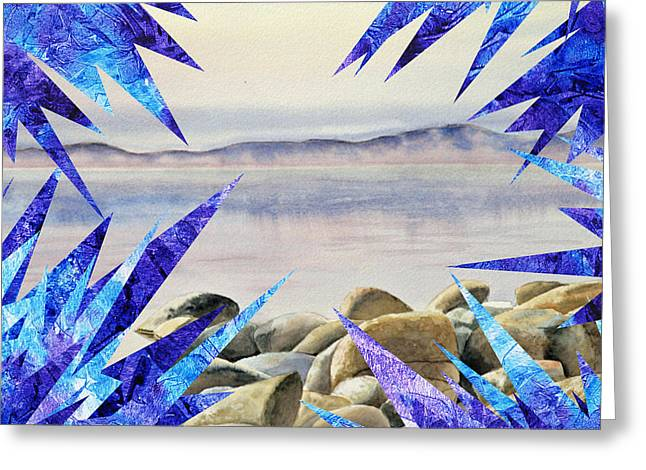 Freeze Greeting Cards - Frozen Lake Tahoe Abstract Collage Greeting Card by Irina Sztukowski