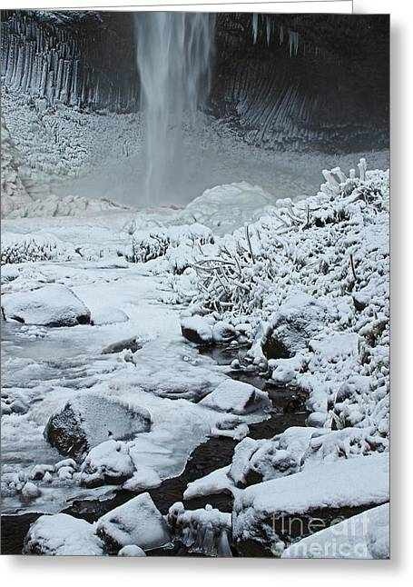 Overhanging Snow Greeting Cards - Frozen Latourell One Twelve Greeting Card by Donald Sewell