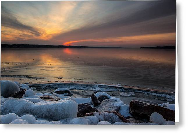 Frozen Photographs Greeting Cards - Frozen Lewis and Clark Lake Greeting Card by Aaron J Groen