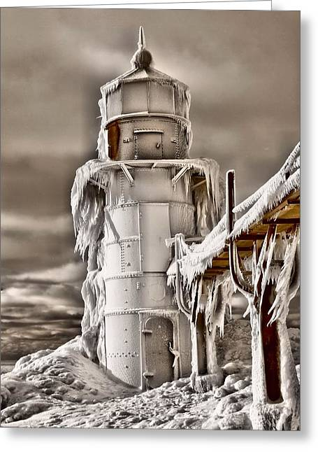 Saint Joseph Greeting Cards - Frozen Lighthouse Greeting Card by Dan Sproul
