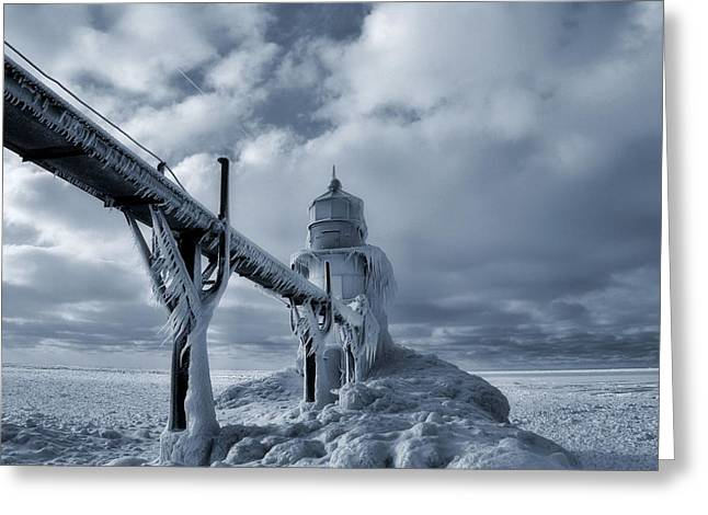 Saint Joseph Greeting Cards - Frozen Lighthouse In Saint Joseph Michigan Greeting Card by Dan Sproul