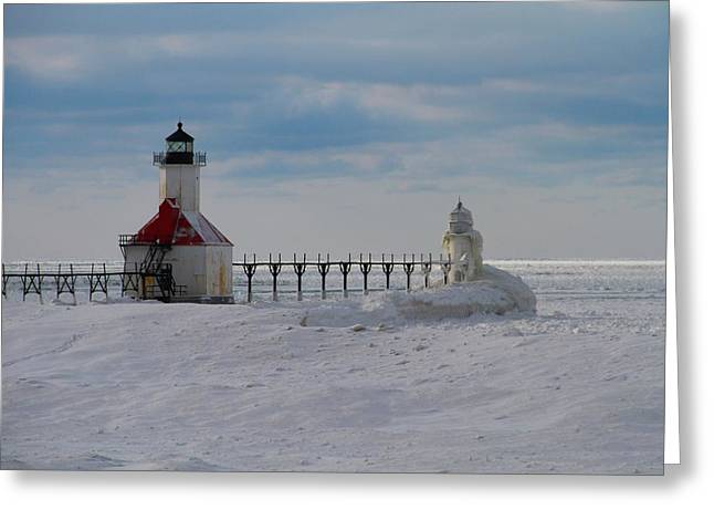 Saint Joseph Greeting Cards - Frozen Lighthouses On Lake Michigan Greeting Card by Dan Sproul