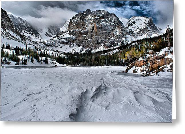 Mills Glacier Greeting Cards - Frozen Loch Vale Greeting Card by Steven Reed