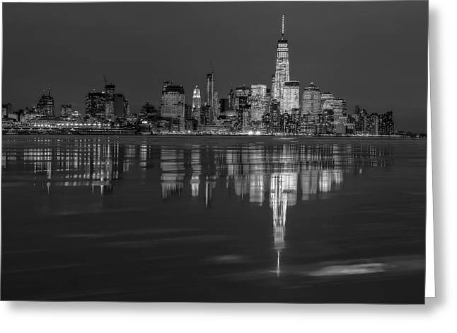 Sleet Greeting Cards - Frozen Lower Manhattan NYC BW Greeting Card by Susan Candelario