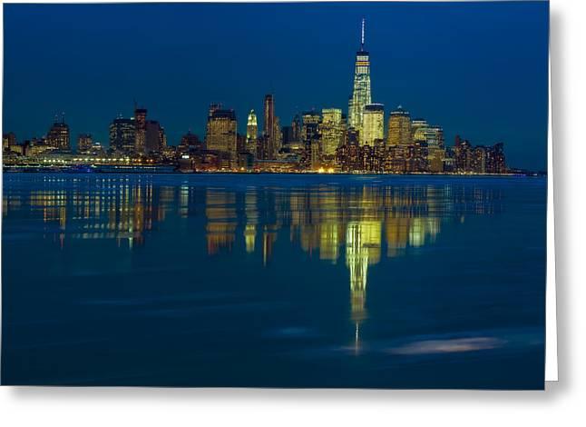 Sleet Greeting Cards - Frozen Lower Manhattan NYC Greeting Card by Susan Candelario