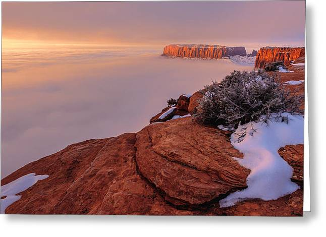 Overlook Greeting Cards - Frozen Mesa Greeting Card by Chad Dutson