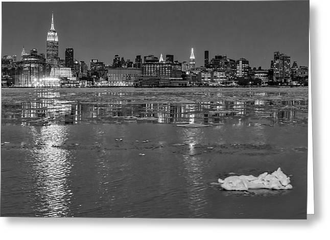 Sleet Greeting Cards - Frozen Midtown Manhattan NYC BW Greeting Card by Susan Candelario