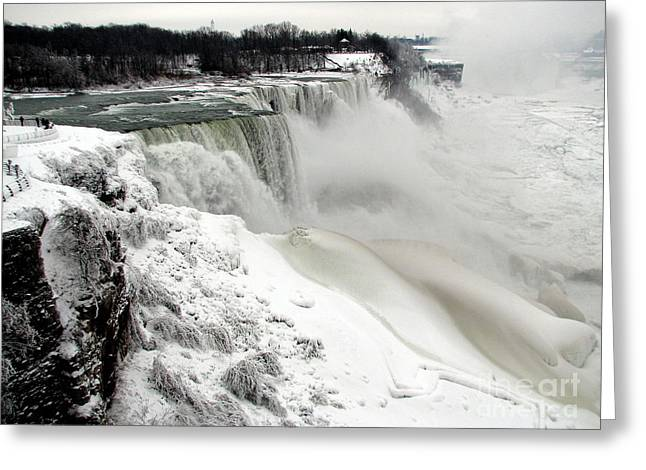 Sofranko Greeting Cards - Frozen Niagara and Bridal Veil Falls Greeting Card by Rose Santuci-Sofranko