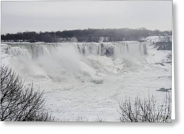 Destination Scenics Pyrography Greeting Cards - Frozen Niagara Falls Greeting Card by Yoshiko Wootten