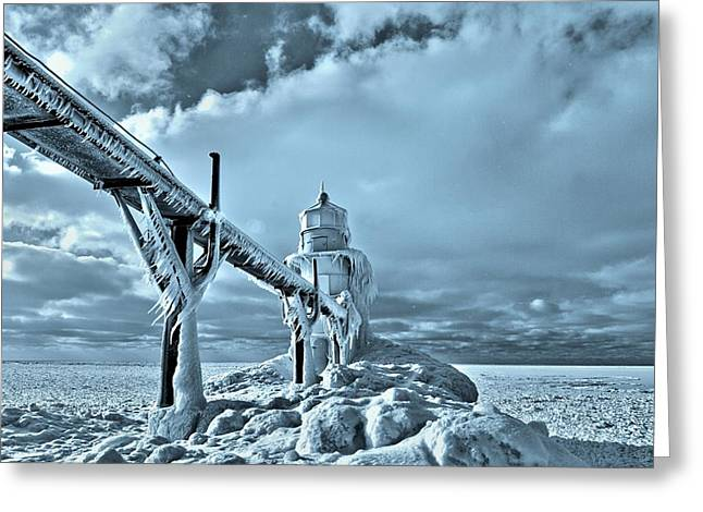 Snowstorm Greeting Cards - Frozen On Lake Michigan Saint Joseph Greeting Card by Dan Sproul