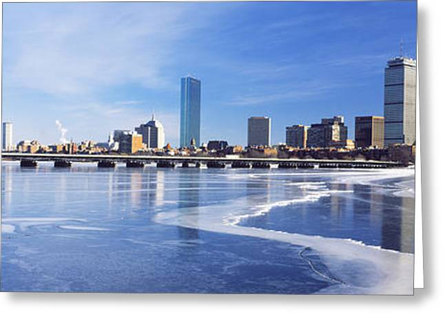 Charles River Greeting Cards - Frozen Over Charles River With Harvard Greeting Card by Panoramic Images